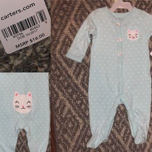 NWT Carter's 3M Kitty butt Footed onesie